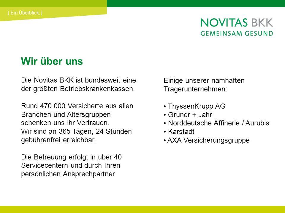 [ Ein Überblick. ] Wir über uns. Die Novitas BKK ist bundesweit eine der größten Betriebskrankenkassen.